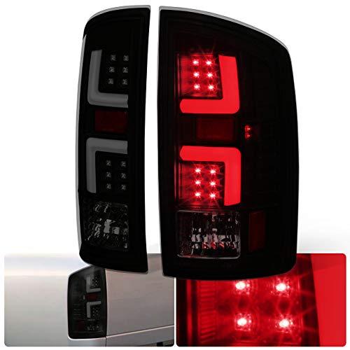 AJP Distributors Black Housing Smoke Lens White LED Tube Tail Light Brake Lamps For Dodge Ram 1500 2500 3500 Upgrade Replacement Lighting Assembly L.E.D. 2007 2008 2009 07 08 09