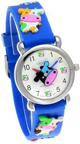 Geneva Colorful Cow Theme Blue Rubber Band Kids Watch #CH-29