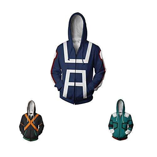 (Boku No Hero Academia My Hero Academia Izuku Midoriya Hoodies Sweatshirt Cosplay Costume Training Suit Jacket (Blue, XXL))
