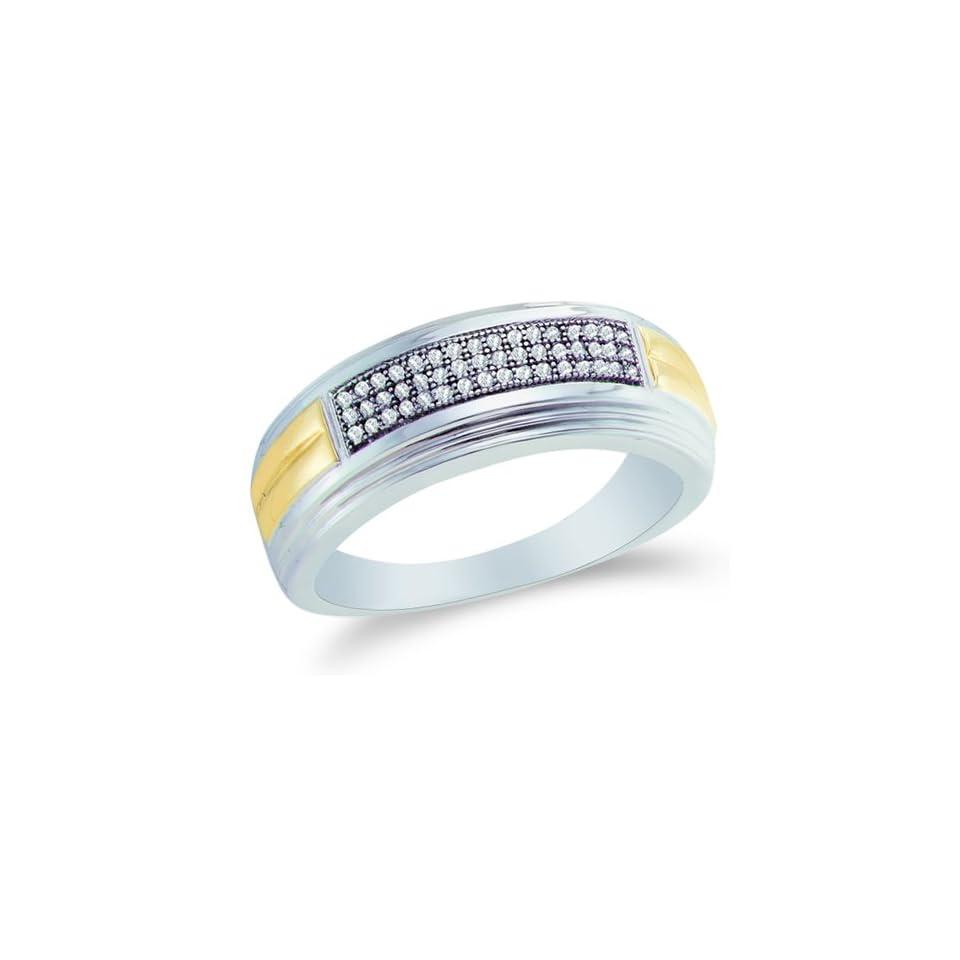 Size 12.5   10K White and Yellow Two Tone Gold Diamond Three Rows MENS Wedding Band Ring   w/ Micro Pave Set Round Diamonds   (.15 cttw)