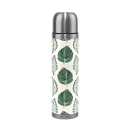 TSWEETHOME Vacuum Insulated Water Bottle Double Wall Stainless Steel Leak Proof Wide Mouth with Novelty Graphic Hand Painted Green Feathers Seamless Pattern Compact Bottle Beverage Bottle