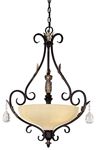 301 Castlewood Walnut (Minka Lavery 773-301 3 Light Pendant, Castlewood Walnut with Silver Highlights Finish)
