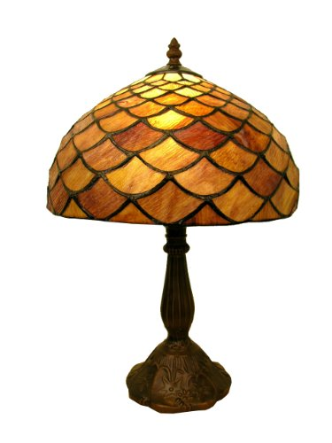Warehouse of Tiffany 2568(PS138)+MB06 Tiffany-style Fish Scale Table Lamp, Purple