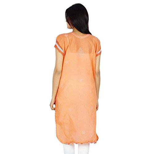 Chikan bordado indio étnico Mujeres Kurti ocasional del algodón vestido de la túnica regalo para ella Melocotón y Off White-1