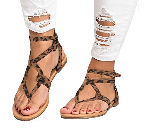 Ruanyu Womens Strappy Sandals Gladiator Thong Ankle Strap Summer Beach Flat Sandals