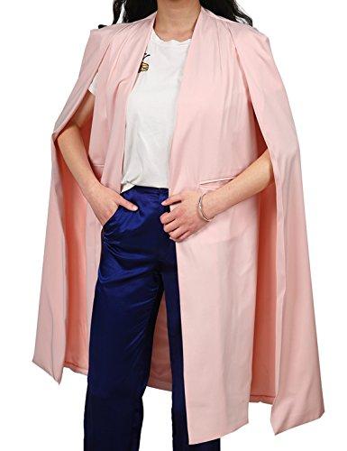 HAOYIHUI Womens Fashion Solid Longline Cape Open Front Cloak Trench Coat (Large, Pink)