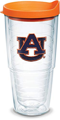 Tervis 1056611 Auburn Tigers Tumbler with Emblem and Orange Lid 24oz, Clear by Tervis