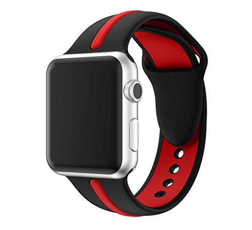 EloBeth iWatch Band 44mm 42mm, Soft Silicone Sport Replacement Wrist Strap Stripe Color Splicing Compatible Apple Watch Series 4/3/2/1 Nike+ Sport Edition Smart IWatch (Stripe Black/Red, 44/42mm)