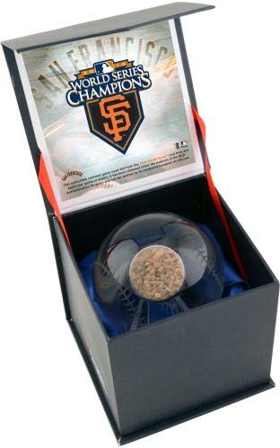 San Francisco Giants 2010 MLB World Series Champions Crystal Baseball with Game Used 2010 Word Series Dirt Fanatics Authentic Certified