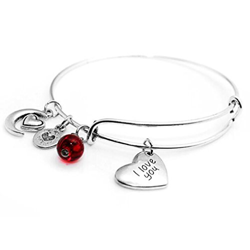 Meolin Multi-element Message Charm Expandable Wire Bangle Bracelet Best Gifts,Love the moon,2.5-2.6in