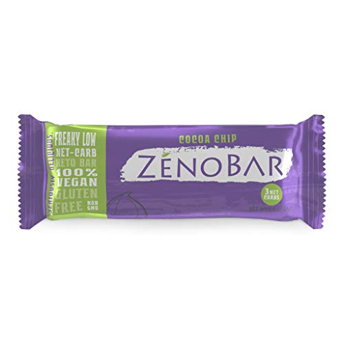 ZenoBar Keto Low Carb Energy Bar, 1.6 oz (Cocoa Chip, 12-Pack): Vegan, Whole Foods, Low Glycemic, Perfect for Keto, Diabetic, and High Fat Diets ()