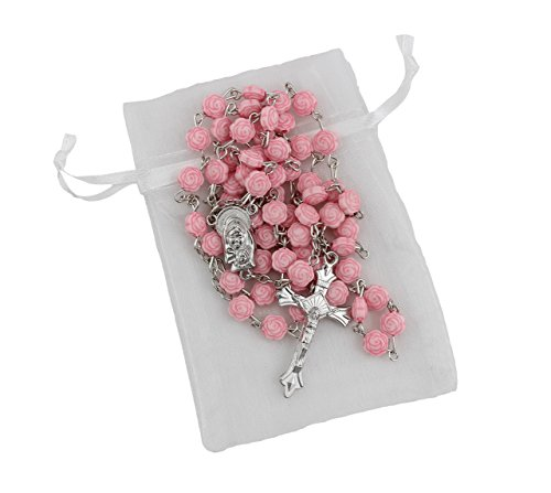 Rosary Rose (Bundle: 7mm Pink Rose Shaped Bead Rosary with Organza Storage Bag)