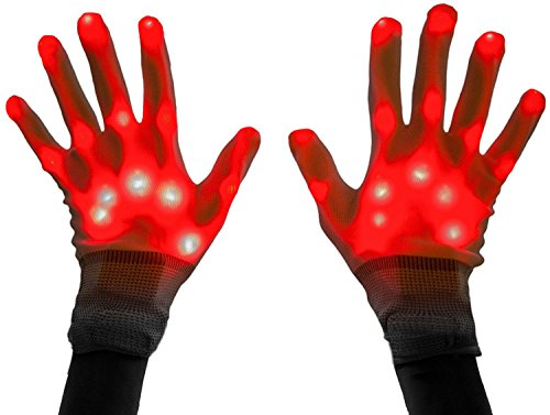 Led Skeleton Gloves, TILO Color Changeable Light Up Shows Skull Changing LED Flashing Light Colorful Charming Halloween Costume Novelty Christmas Gift For Friends (Red) ()