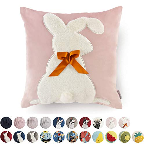 Luxury Velvet Throw Pillow Covers Decorative Easter Rabbit Square Cushion Cover for Sofa Couch Modern Bunny Pillowcases 18x18 -