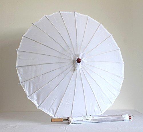 Sonnenschirm 006, Dekoschirm aus Kunstfaser, wasserfest in weiss aus Bambus mit Holzgriff