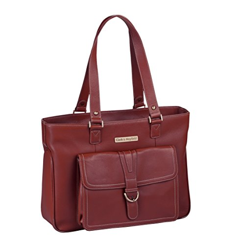 Clark & Mayfield Women's Stafford Pro Leather Laptop Tote (Fits laptops up to 15.6'', Port Red) by Clark & Mayfield