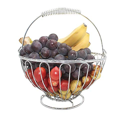 Stainless Steel Fruit - Fruit Basket Bowl Stainless Steel Fruit Tray Storage Basket Decorative Countertop Fruit Bowl Stand for Vegetables, Fruits, Candy, Chocolate, Dried Fruit Nuts for Home Party and Wedding, silver