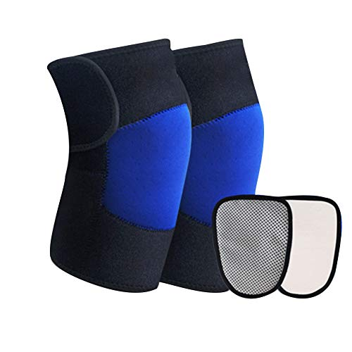 - Heating Knee Pad Magnetic Knee Brace Thermal Therapy for Arthritis, Outdoor Sports Tourmaline Knee Pads Guards Leg Sleeve Protective for Riding Cycling Biking Running - Blue