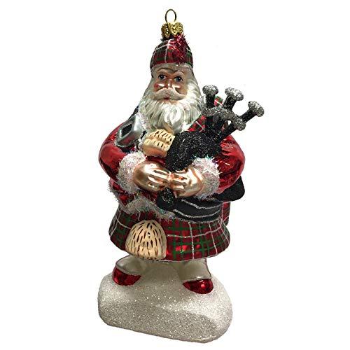 Pinnacle Peak Trading Company Scottish Santa in Kilt with Bagpipes Polish Glass Christmas Tree Ornament