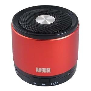 August MS425 -  Altavoz bluetooth portátil y con micrófono, inalámbrico, color rojo