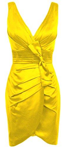 MACloth Women V Neck Satin Short Bridesmaid Dress Formal Evening Party Gown Amarillo