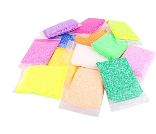 (Hosaire Slime Foam Balls - 12 Packs Colorful Micro Polystyrene Styrofoam Beads Arts DIY Crafts Supplies for Homemade Slime, Kid's Craft, Wedding and Party)