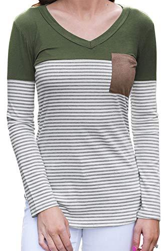 Lunghe Le Sevozimda Colore Camicia Donne pi di Strisce Maniche A 70qFqawgn