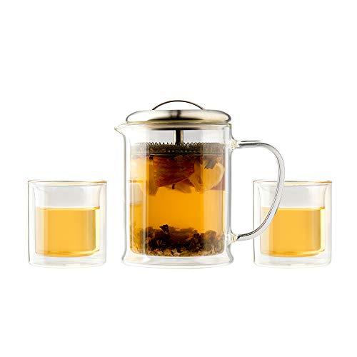 casaWare 3-Piece Double Wall Borosilicate Glass Tea Pot Set
