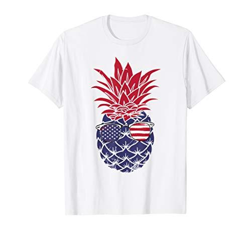 Pineapple American Flag Sunglasses 4th Of July Tshirt Gift