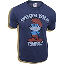 Junk Food Smurfs Papa Smurf Who's Your Papa Navy Adult T-shirt Tee