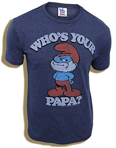 Smurfs Papa Smurf Who's Your Papa Navy Adult T-shirt (Medium)