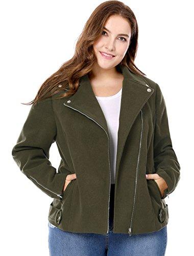 - Agnes Orinda Women's Plus Size Zip Closure Convertible Collar Inclined Moto Jacket Green 1X