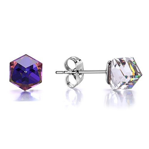Aurora Borealis Stud Earrings J.Fée Austrian Purple Square Earrings Christmas Anniversary Birthday Gifts for Wife Girlfriend Girls Daughter Cubic Earrings CZ Diamond Earrings Wedding Jewelry for (Aurora Borealis Austrian Crystal)
