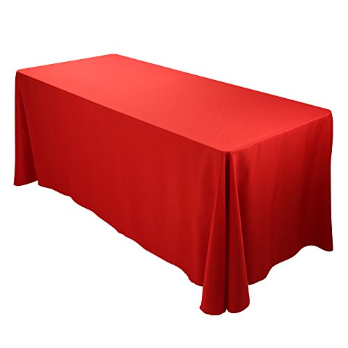 E-TEX Oblong Tablecloth - 90 x 132 Inch Rectangle Table Cloth for 6 Foot Rectangular Table in Washable Polyester , Red