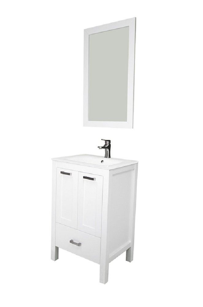 "Albani 24"", white, solid doors, glass sink by Priele"