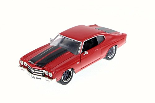 Jada 1970 Dom's Chevy Chevelle SS, Glossy Red 97309 - 1/24 Scale Diecast Model Toy Car ()