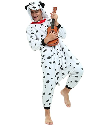 Dalmatian Dog Onesie for Adult and Teenagers. Animal Pajama Costume for Halloween, Dress-up Parties -