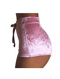 Women Summer High Waist Velour Shorts