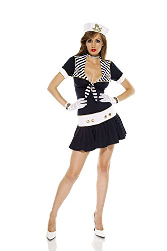 Mememall Fashion Sexy Naughty Nautical Doll Navy Adult Halloween Costume (Jackie Moon Halloween Costume)