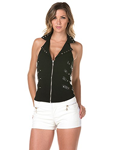 Sexy Spike Stud With Faux Leather Halter Top For Women Black Color Size : L (Faux Leather Halter)