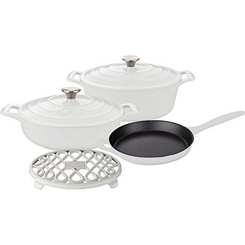 La Cuisine LC 2980 6-Piece Enameled Cast Iron Cookware Set in White (Oval Casserole/Trivet), ()