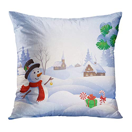 lowcases Blue Winter Cartoon of Cute Snowman at Snowy Village Snow Wonderland Landscape Scenery Christmas Custom Square Size 16 x 16 Inches Home Decor Cushion Pillow Cover ()