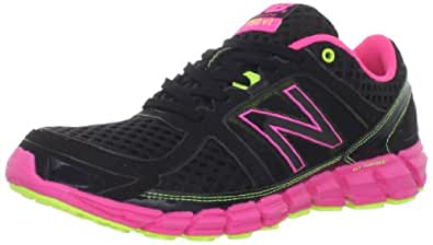 New Balance Women's W750 Athletic Running Shoe,Black/Pink,7.5 D US