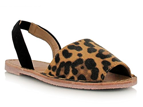 Nubuck Faux Suede Double Strap Peep Toe Sandals for Summer Days and Evenings Super Comfy Flats Womens Footwear Holiday Shoes Leopard Suede ml7ouXYYrR