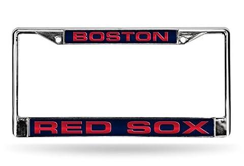 MLB Boston Red Sox Laser-Cut Chrome Auto License Plate Frame - Sox Metal
