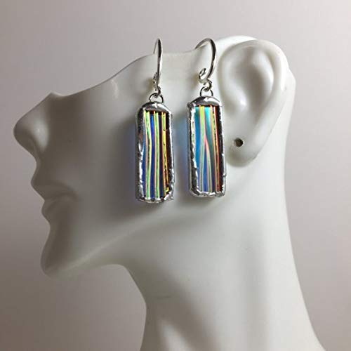 Iridescent Dichroic Stained Glass Earrings, Stained Glass, Jewelry, Handmade Statement Jewelry