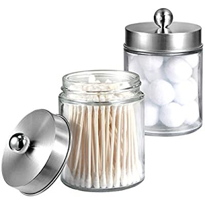 Apothecary Jars Bathroom Vanity Organizer -Countertop Canister Jar with Storage Lid - Qtip Dispenser Holder Glass for Qtips,Cotton Swabs,Makeup Sponges,Hair Band - Brushed Nickel (2 Pack) - ✅ STORAGE MADE STYLISH - This sleek vanity qtip holder provides a decorative accent to your powder room, bathroom vanity, makeup table and more; The unique design with removable lid gives you a variety of storage options.This canister is great for storing and organizing cotton swabs, ovals and rounds, makeup applicators, cosmetic sponges, wedges, guest soaps, bath bombs, balls, salts and more. ✅ COMPACT STORAGE - This bathroom organizer is compact, protecting your makeup and hair accessories without taking up too much space on the countertop or table. With this tasteful, crystal-clear container in your bathroom organization arsenal, you can tastefully take charge of your own space and keep track of all your things.This not only helps you locate items easily but keeps them clean and sanitary, too. ✅ PERFECT GIFT -Perfect for wedding, housewarming/new home gift,birthday gifts, mother's day gift,bridal or baby shower gifts; also great gift idea for mom, friend, sister, co-worker or just about anyone to use all year round - organizers, bathroom-accessories, bathroom - 415CGx98GbL. SS400  -