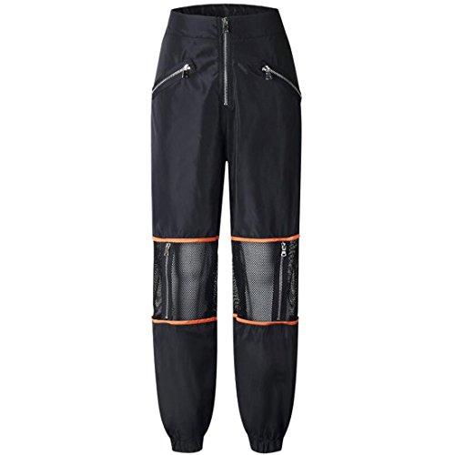 negros Net aire cintura Boho Fitness Mediados Harem de Pantalones carga Red Zip al Harem libre Patchwork de Hippie Mujeres de Pantalones Pantalones Deportes q8pABww