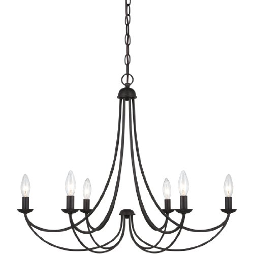 Quoizel MRN5006IB Mirren Farmhouse Chandelier Lighting, 6-Light, 360 Watts, Imperial Bronze 23 H x 28 W
