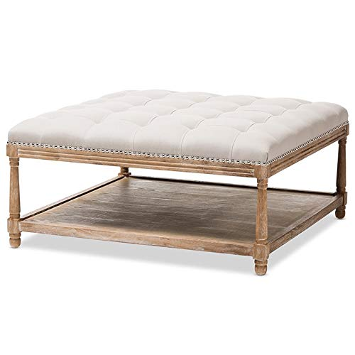 Baxton Studio Square Coffee Table Ottoman in Beige and Weathered Oak Finish
